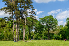 People Having Picnic And Playing Games In Mogosoaia Public Park Royalty Free Stock Photography