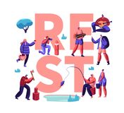 People Having Rest Creative Poster. Male and Female Characters Hobby at Leisure Time, Men and Women Relaxing, Fishing. Taking Pictures, Pick Up Mushrooms royalty free illustration