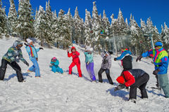 People having snowball fight Stock Photos