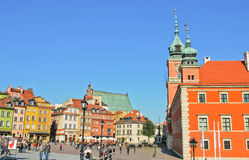 People having a tour at Castle Square in Warsaw Royalty Free Stock Images