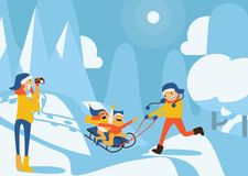 Happy family illustration with kids sledding, father riding, mother recording with video camera in winter day scene. Snowdrifts an Royalty Free Stock Images