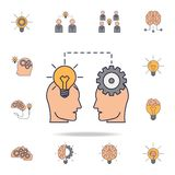 people in the head light bulb and gear fild color icon. Detailed set of color idea icons. Premium graphic design. One of the vector illustration