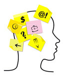 People head with memory stickers Stock Photo