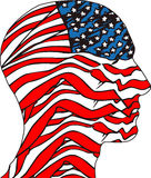 People head painted in colors of usa flag Stock Photos