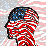 People head painted in colors of usa flag Royalty Free Stock Image