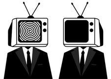 People instead of head TV, silhouette. Man zombie, mass media.  vector illustration