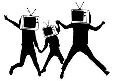 People instead of head TV, silhouette. Man of Zombies. Propaganda, fake news.  Royalty Free Stock Photography