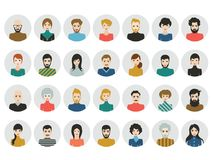 People heads icons. Face avatar. Man, woman in flat style stock illustration