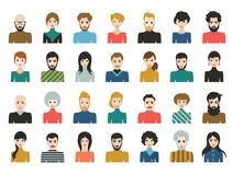 People heads icons. Face avatar. Man, woman in flat style. Vector stock illustration