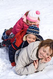 People heap in the snow Stock Photo