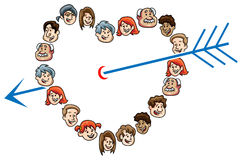 People heart with arrow Royalty Free Stock Photos