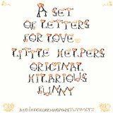 People hearts. Font. Designer set. Handmade drawing. Vector. Valentine s day. Love. Happy holiday. People hearts. Font. Designer set. Handmade drawing. Vector Royalty Free Stock Image