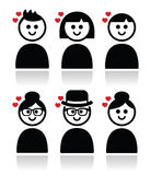 People with hearts, love, valentine's day icons set Royalty Free Stock Photos