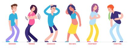 People with heat stroke symptoms vector characters. Illustration of people with symptoms weaknes and tremor, red skin and vomiting royalty free illustration