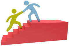 People help hand join up stairs. People join together to help solve problem step up stairs Stock Photos