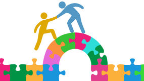 People help join solve bridge puzzle Royalty Free Stock Images
