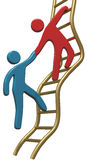 People help join up success ladder. Person helping friend or partner join to climb up the golden ladder of success Stock Image