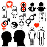 People in heterosexual relationships design icons Stock Photography