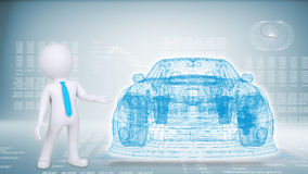 People and hi-tech car on a blue background Stock Photo