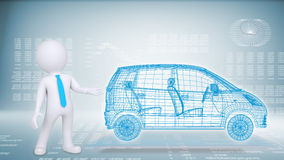 People and hi-tech car on a blue background Stock Images