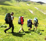 People in hike. In Caucasus mountains Royalty Free Stock Photo