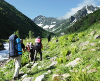 People in hike. In the Caucasus mountains Stock Image