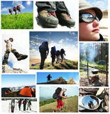People in hike. For mountains collage Royalty Free Stock Photography
