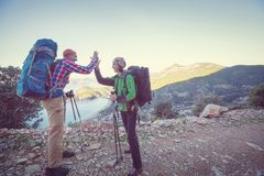 People in hike stock images