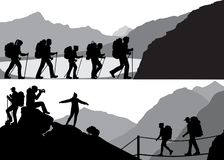 People in hike stock illustration