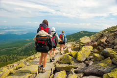 People hiking. In Karkonoszy mountains at summer Royalty Free Stock Photography