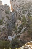 People hiking. Caminito del Rey, Spain. Group of people hiking in the mountains. Caminito del Rey, Spain royalty free stock image