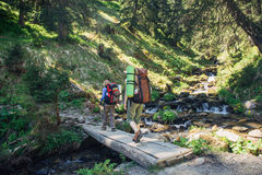 People hiking in Carpathian mountains Stock Photography