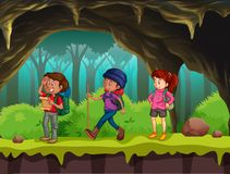 People hiking in the cave stock illustration