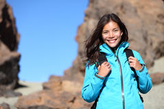 People hiking - hiker woman happy portrait Royalty Free Stock Images
