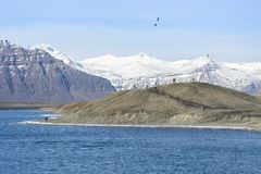 People hiking on Iceland Jokulsarlon glacial lagoon / glacier la stock photos