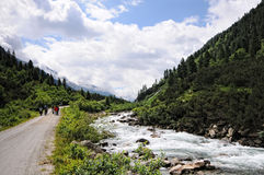 People hiking in the Krimml Achental valley Stock Image