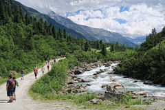 People hiking in the Krimml Achental valley Stock Photos