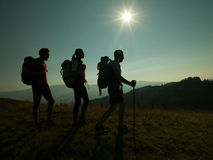 People hiking on the mountain Stock Photography