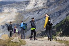 People hiking in the mountains Stock Image