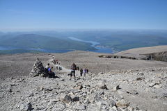 People hiking on path to the Ben Nevis summit Royalty Free Stock Photography