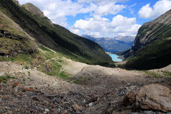 People hiking on the Plain of the Six Glaciers hiking trail near Lake Louise royalty free stock photos
