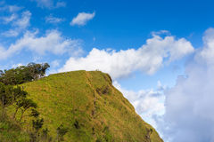 People hiking to top of mountain with blue sky. People hiking to top of mountain with sky Stock Photography