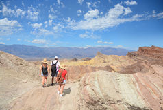 People on a hiking trip in mountains. Family hiking in the mountains. Death Valley National Park , eastern California and Nevada, USA Stock Photo