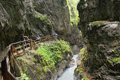 People hiking through Wolfsklamm gorge near Stans in Tirol Austr Royalty Free Stock Photography