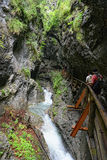People hiking through Wolfsklamm gorge near Stans in Tirol Austr Royalty Free Stock Photos