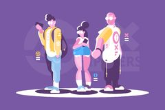 People hipster fashion style standing together. stock illustration