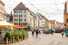 People at the historic center of Augsburg Royalty Free Stock Image