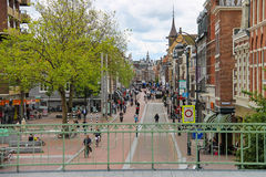 People in the historic city center in Haarlem Royalty Free Stock Photography