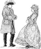 People in the historical costumes. Vector image of the couple in the costumes of the 18th century Royalty Free Illustration