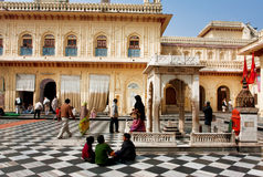 People in historical hindu temple Stock Image